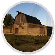 Mormon Row Barn Sunset Round Beach Towel