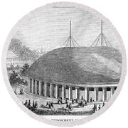 Mormon Tabernacle, 1870 Round Beach Towel