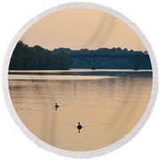 Morning Along The Schuylkill River Round Beach Towel