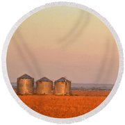 Morning At The Farm Watercolor Photoart Round Beach Towel