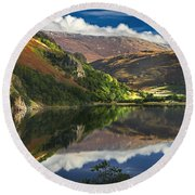 morning by Llyn Gwynant Round Beach Towel