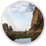 Morning Columns Round Beach Towel