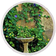 Morning Glory Garden In Provence Round Beach Towel