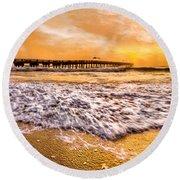 Morning Gold Rush Round Beach Towel