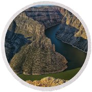 Morning In Bighorn Canyon Round Beach Towel