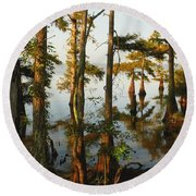 Morning In The Swamps Round Beach Towel