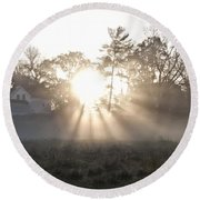 Morning Light At Valley Forge Farm Round Beach Towel