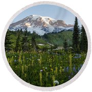 Morning Meadow Round Beach Towel