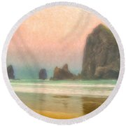 Morning Mist At Haystack Rock Round Beach Towel