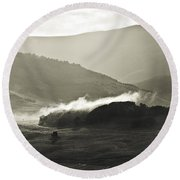 Morning Mist Crested Butte Colorado Round Beach Towel