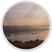 Morning Mist Over Vartry Lake, County Round Beach Towel
