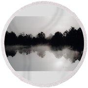 Morning Mist Reflection Round Beach Towel