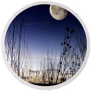 Morning Moonscape Round Beach Towel