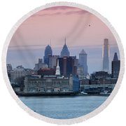 Morning On The Delaware River Round Beach Towel