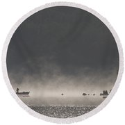 Morning On The Lake  Round Beach Towel