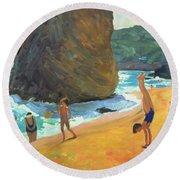 Morning Platja Dos Rosais Costa Brava Round Beach Towel