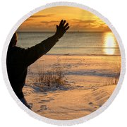 Morning Reverence Round Beach Towel