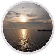 Morning Skies On The Chesapeake Round Beach Towel