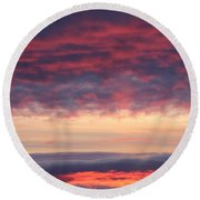 Morning Sky Portrait Round Beach Towel