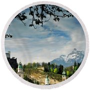Morning View Of Salzburg From Kapuzinerberg Round Beach Towel