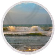 Morning Waves Round Beach Towel