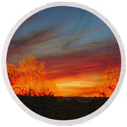 Morning's Magical Light Round Beach Towel