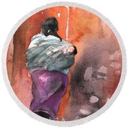 Moroccan Woman With Baby Detail Round Beach Towel