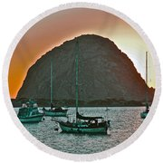 Morro Bay Rock Round Beach Towel