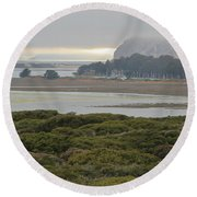 Morro Rock From The Elfin Forest Round Beach Towel