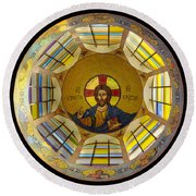 Mosaic Christ Round Beach Towel