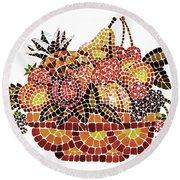 Mosaic Fruits Round Beach Towel