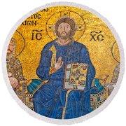 mosaic inside Hagia Sophia  Round Beach Towel