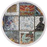 Mosaics Street At Birzeit Round Beach Towel