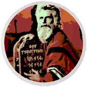 Moses And The 10 Commandments Round Beach Towel