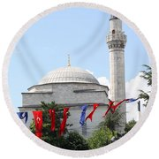 Mosque And Flags Round Beach Towel
