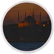 Mosque At Dusk Round Beach Towel