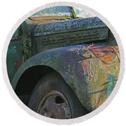 Moss Covered Truck Round Beach Towel