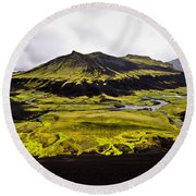 Moss In Iceland Round Beach Towel
