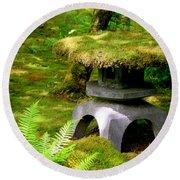 Mossy Japanese Garden Lantern Round Beach Towel