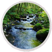 Mossy Rocks And Water   Round Beach Towel