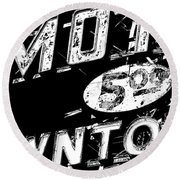 Motel Sign Black And White Round Beach Towel