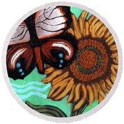 Moth And Sunflower Round Beach Towel