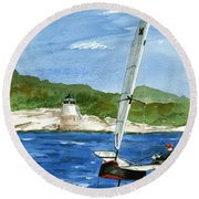 Moth Sailing At Castle Hill Light Round Beach Towel