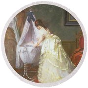Mother And Baby Round Beach Towel by Fritz Paulsen