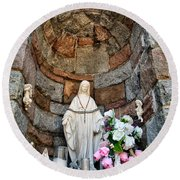 Mother Mary 2 Round Beach Towel