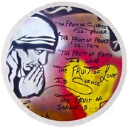 Mother Theresa Fruits Round Beach Towel