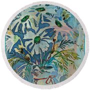Mothers Daise Round Beach Towel by Mindy Newman