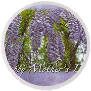 Mother's Day Card - Purple Wisteria Round Beach Towel