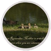 Mother's Watchful Eye Round Beach Towel by Kathy Clark