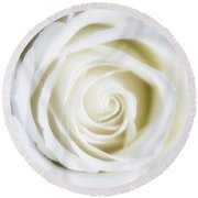 Mother's White Rose Round Beach Towel